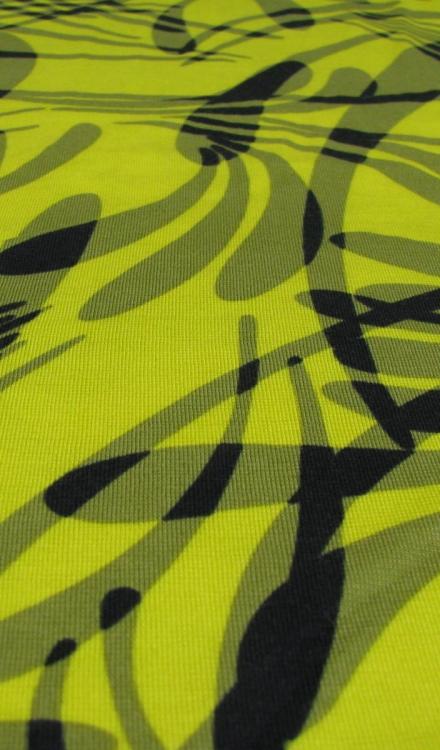 Tricot geel met blauw
