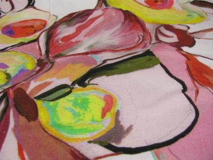 Tricot off white rood met geel fantasie