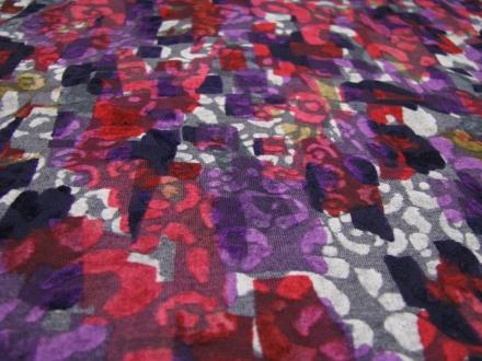 Tricot flockprint grijs roze paars Editex