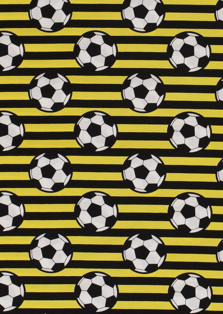 Katoen streep geel zwart met voetbal